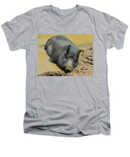 Mud Spa Men's V-Neck T-Shirt by Emmy Marie Vickers