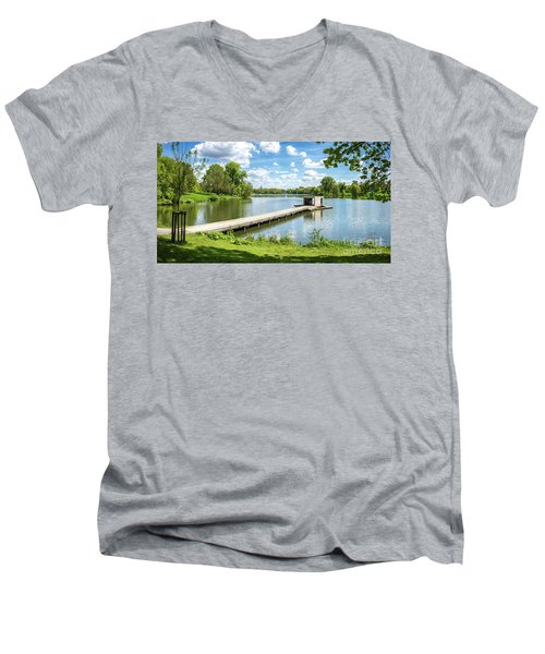 Muenster Aasee Panoramic View Men's V-Neck T-Shirt