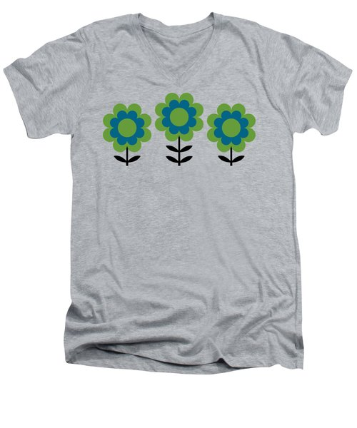 Mug Design With Happy Flowers Blue And Green Men's V-Neck T-Shirt