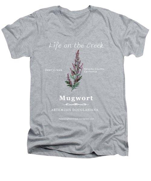 Mugwort - White Text Men's V-Neck T-Shirt