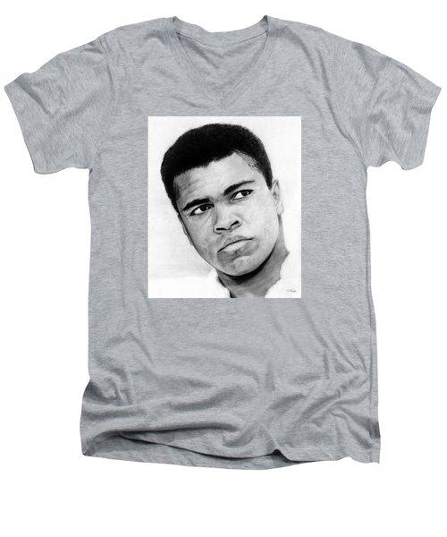 Muhammad Ali Pencil Drawing Men's V-Neck T-Shirt