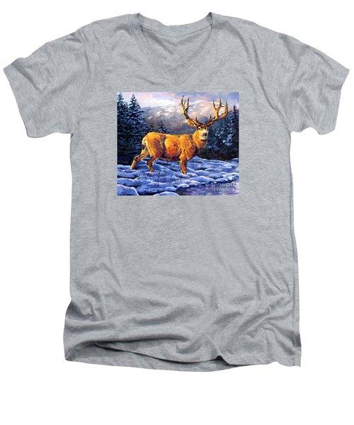 Mule Deer 2 Men's V-Neck T-Shirt by Tim Gilliland
