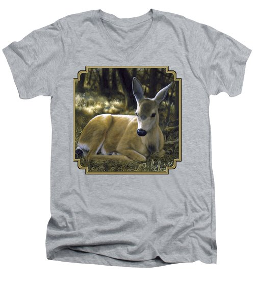 Mule Deer Fawn - A Quiet Place Men's V-Neck T-Shirt by Crista Forest