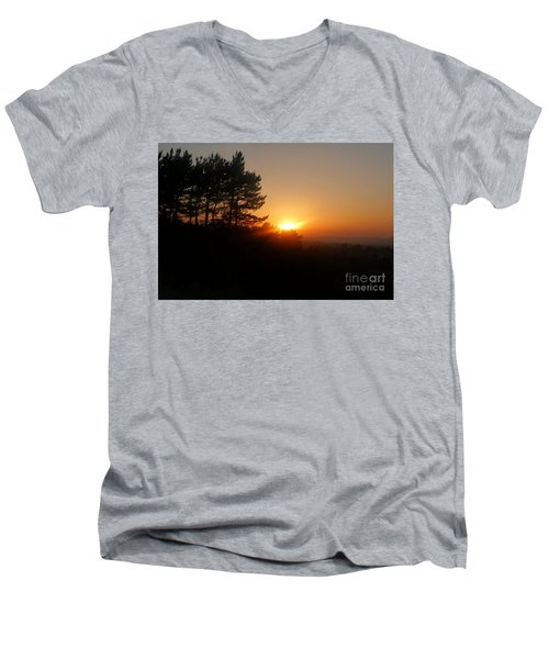 Mulholland Sunset And Silhouette Men's V-Neck T-Shirt by Nora Boghossian