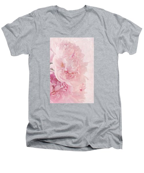 Artsy Pink Peonies Men's V-Neck T-Shirt