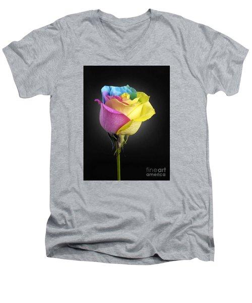 Rainbow Rose 1 Men's V-Neck T-Shirt by Tony Cordoza