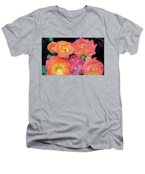 Multi-color Roses Men's V-Neck T-Shirt by Jerry Battle