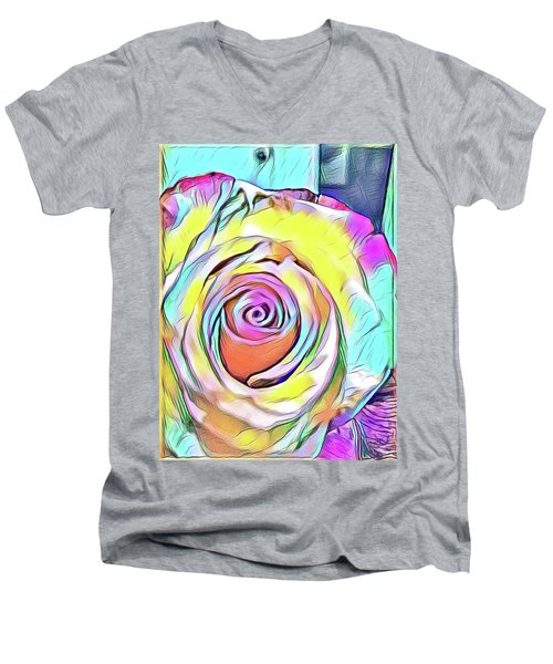 Multi-colored Rose Men's V-Neck T-Shirt