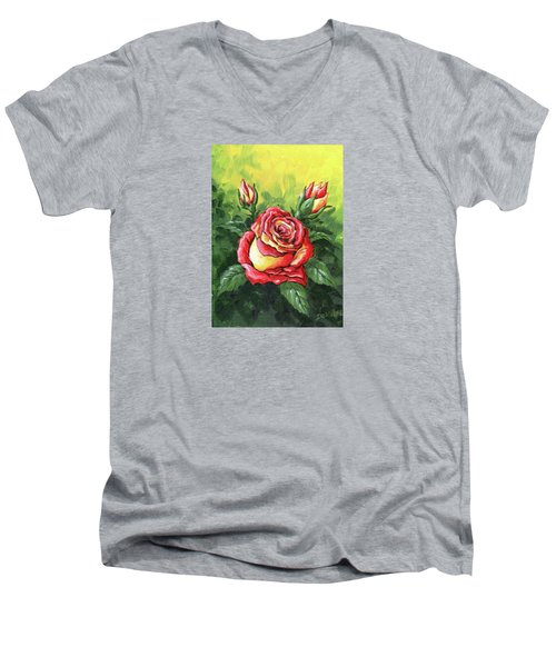Multi Coloured Rose Sketch Men's V-Neck T-Shirt