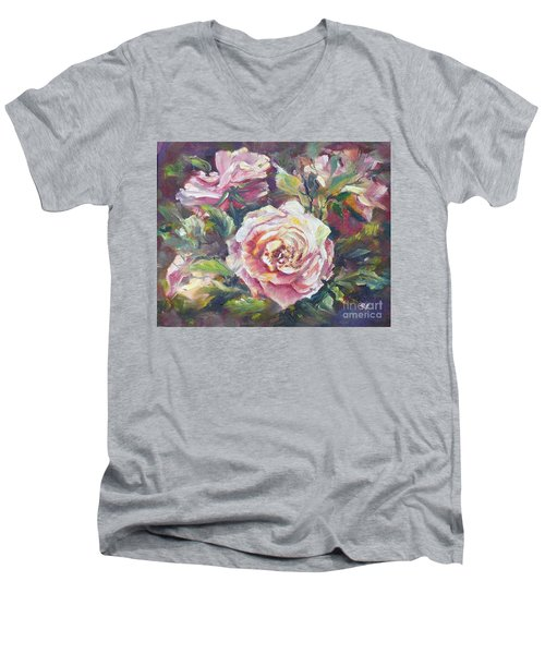 Men's V-Neck T-Shirt featuring the painting Multi-hue And Petal Rose. by Ryn Shell
