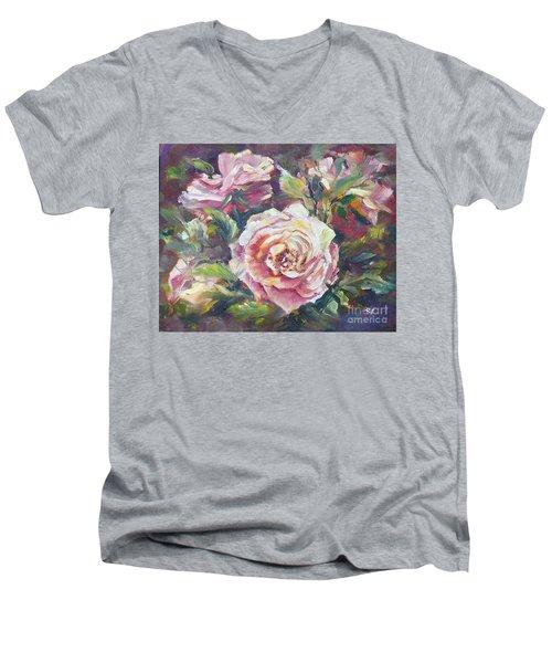 Multi-hue And Petal Rose. Men's V-Neck T-Shirt