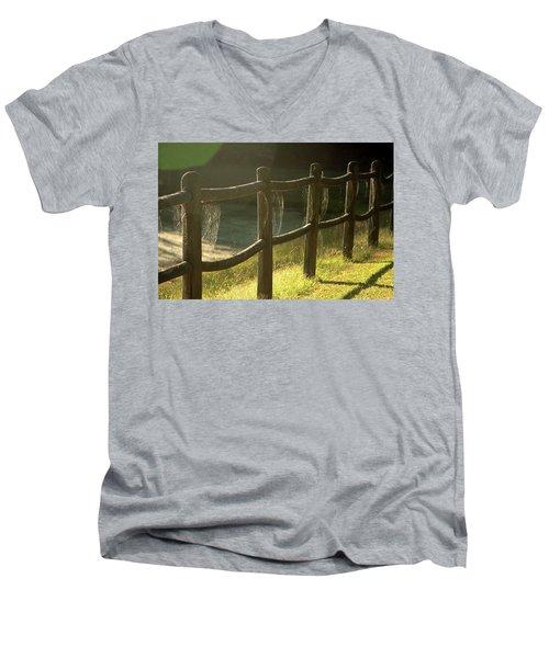 Multiple Spiderwebs On Wooden Fence Men's V-Neck T-Shirt by Emanuel Tanjala