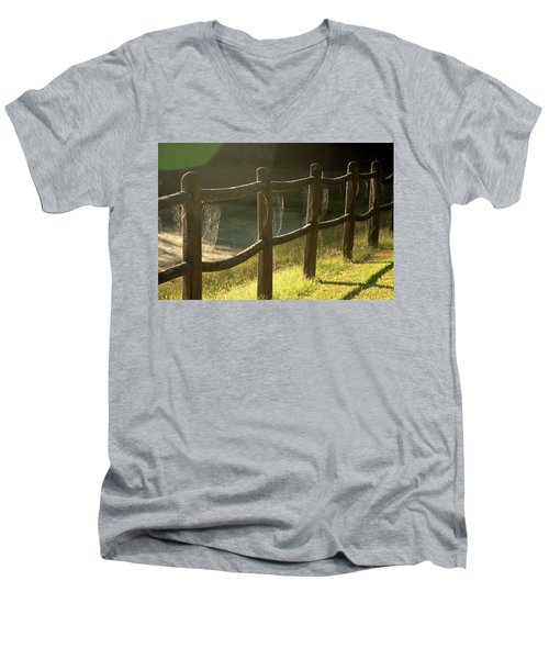 Multiple Spiderwebs On Wooden Fence Men's V-Neck T-Shirt