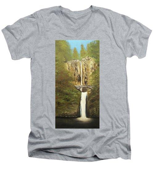 Multnomah Falls Men's V-Neck T-Shirt by Angela Stout