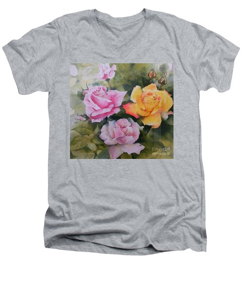Men's V-Neck T-Shirt featuring the painting Mum's Roses by Sandra Phryce-Jones