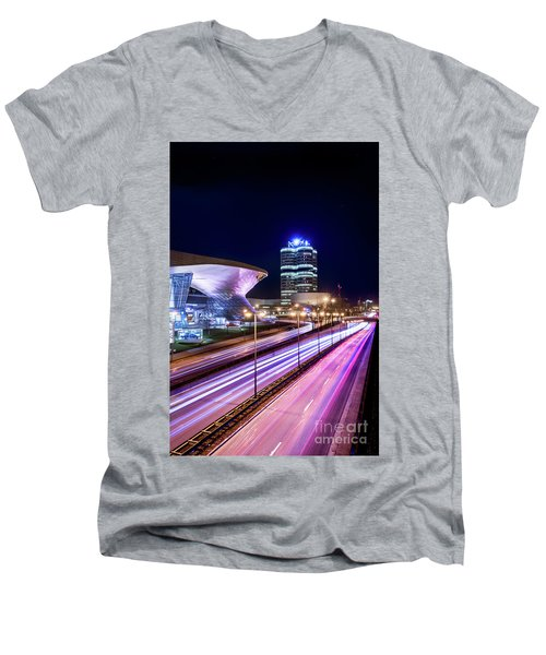 Men's V-Neck T-Shirt featuring the pyrography Munich - Bmw City At Night by Hannes Cmarits