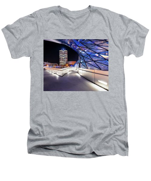 Men's V-Neck T-Shirt featuring the pyrography Munich - Bwm Modern And Futuristic by Hannes Cmarits