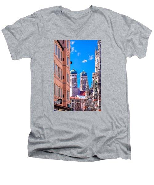 Munich Center Men's V-Neck T-Shirt by Juergen Klust