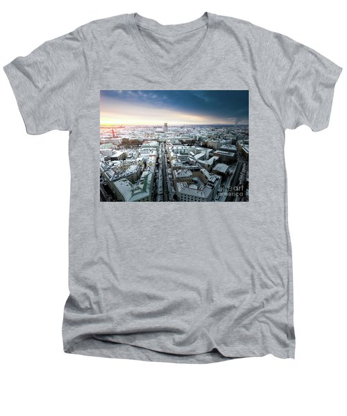 Men's V-Neck T-Shirt featuring the photograph Munich - Sunrise At A Winter Day by Hannes Cmarits