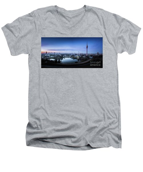 Men's V-Neck T-Shirt featuring the photograph Munich - Watching The Sunset At The Olympiapark by Hannes Cmarits