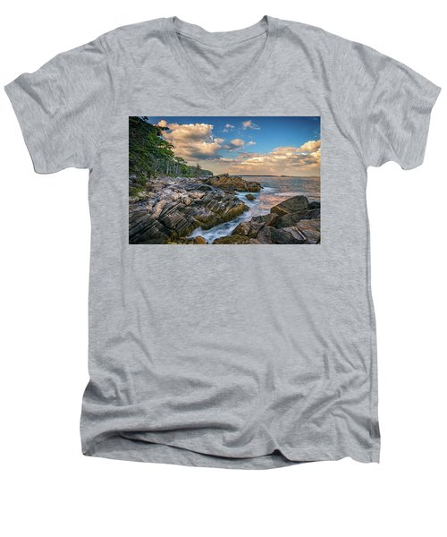 Muscongus Bay Men's V-Neck T-Shirt by Rick Berk