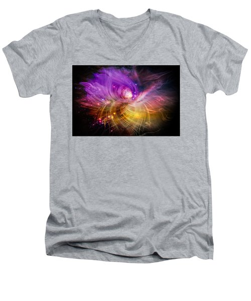 Men's V-Neck T-Shirt featuring the digital art Music From Heaven by Carolyn Marshall