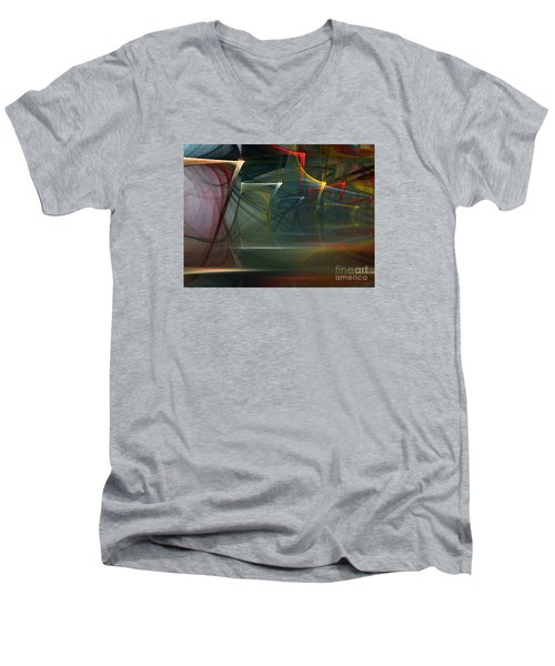 Men's V-Neck T-Shirt featuring the digital art Music Sound by Karin Kuhlmann
