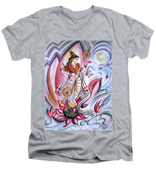 Musical Goddess Saraswati - Healing Art Men's V-Neck T-Shirt