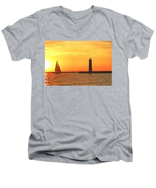 Muskegon Sunset Men's V-Neck T-Shirt