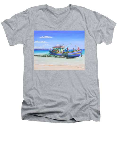 Men's V-Neck T-Shirt featuring the painting Mv Alice Mary by Patricia Piffath