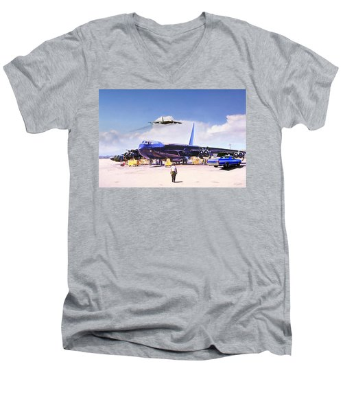 Men's V-Neck T-Shirt featuring the digital art My Baby B-52 by Peter Chilelli