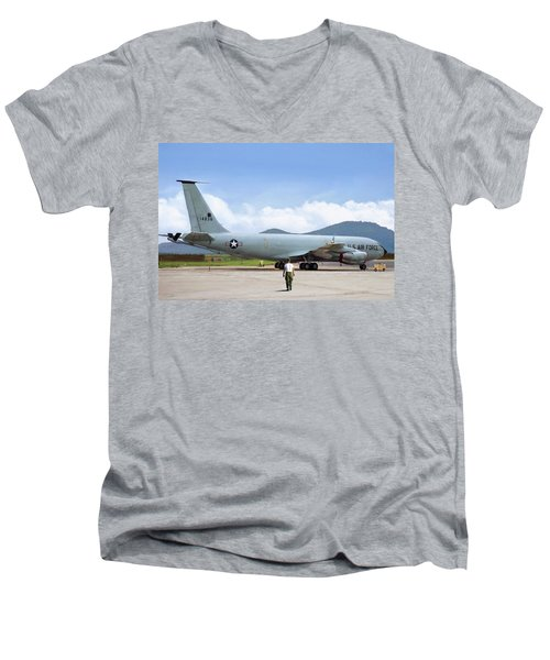 Men's V-Neck T-Shirt featuring the digital art My Baby Kc-135 by Peter Chilelli