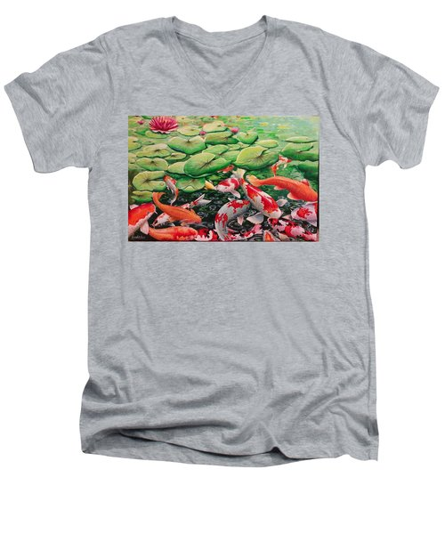 My Backyard Pond Men's V-Neck T-Shirt