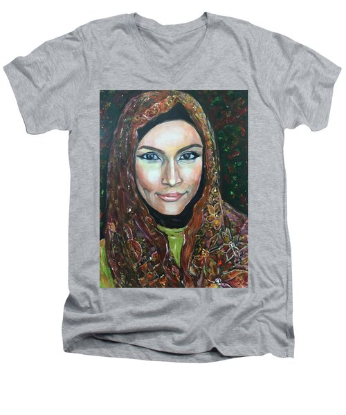 Men's V-Neck T-Shirt featuring the painting My Fair Lady II - Come Home - Geylang Si Paku Geylang by Belinda Low