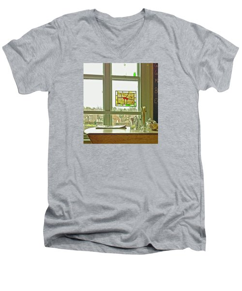 Men's V-Neck T-Shirt featuring the photograph My Favourite Cafe by Anne Kotan