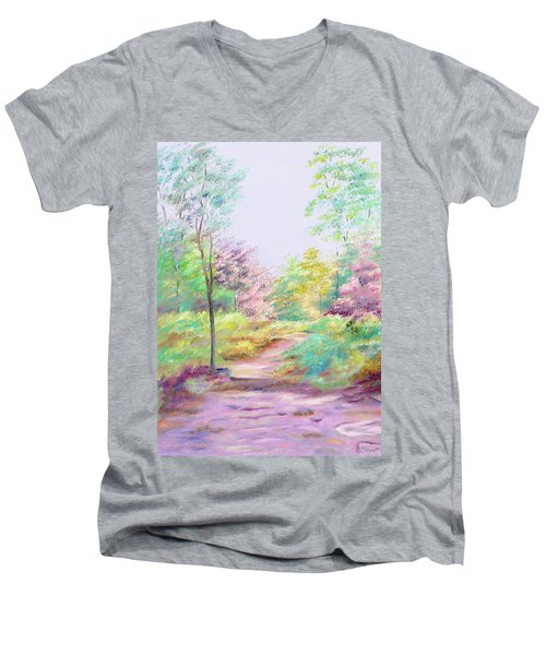 Men's V-Neck T-Shirt featuring the painting My Favourite Place by Elizabeth Lock