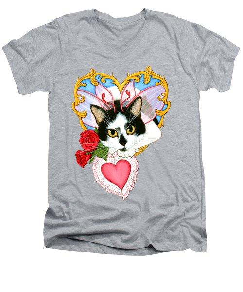 My Feline Valentine Tuxedo Cat Men's V-Neck T-Shirt