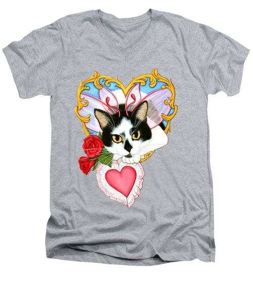 My Feline Valentine Tuxedo Cat Men's V-Neck T-Shirt