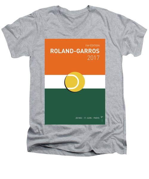 Men's V-Neck T-Shirt featuring the digital art My Grand Slam 02 Rolandgarros 2017 Minimal Poster by Chungkong Art