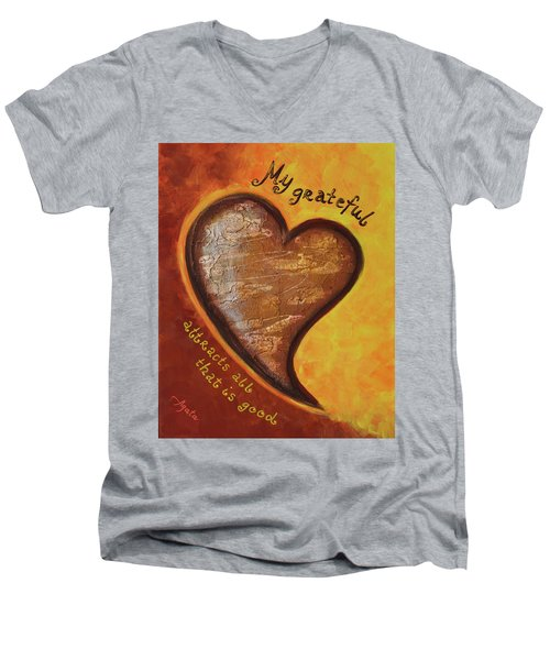 My Grateful Heart Men's V-Neck T-Shirt by Agata Lindquist