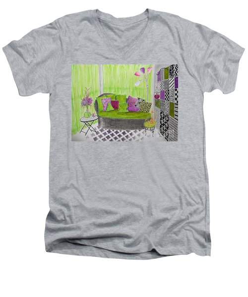 My Happy Place -- Drawing Of Colorful Moroccan Porch Men's V-Neck T-Shirt