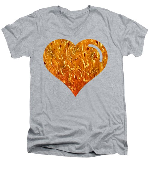 My Heart Is On Fire Men's V-Neck T-Shirt