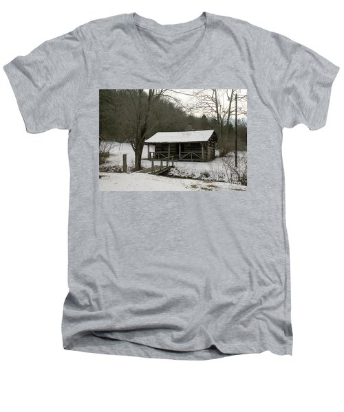 My Lil Cabin Home On The Hill In Winter Men's V-Neck T-Shirt