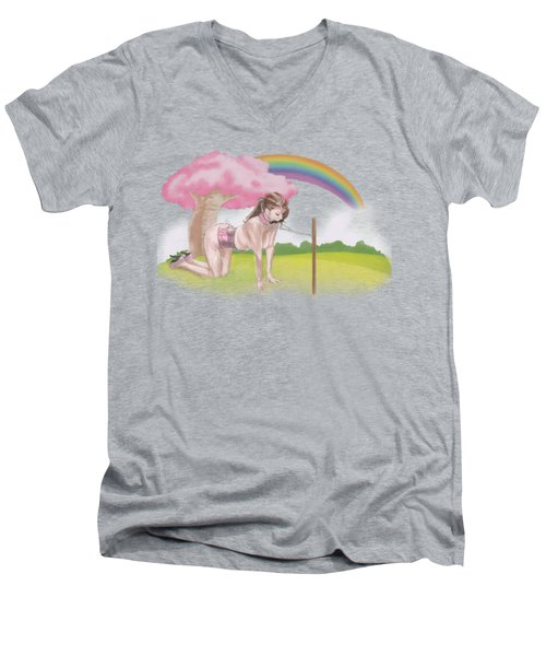 Men's V-Neck T-Shirt featuring the mixed media My Little Pony by TortureLord Art