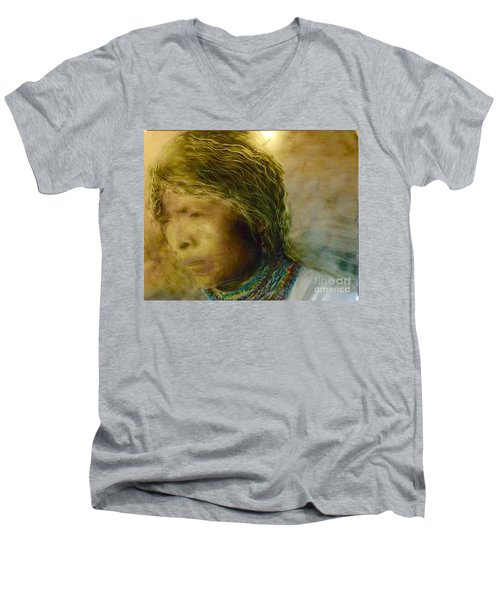 Men's V-Neck T-Shirt featuring the painting My Memory Walks Before Me by FeatherStone Studio Julie A Miller