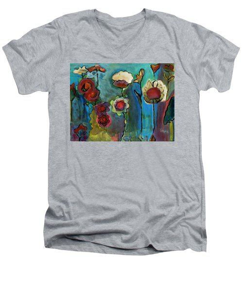 Men's V-Neck T-Shirt featuring the painting My Mother's Garden by Susan Stone