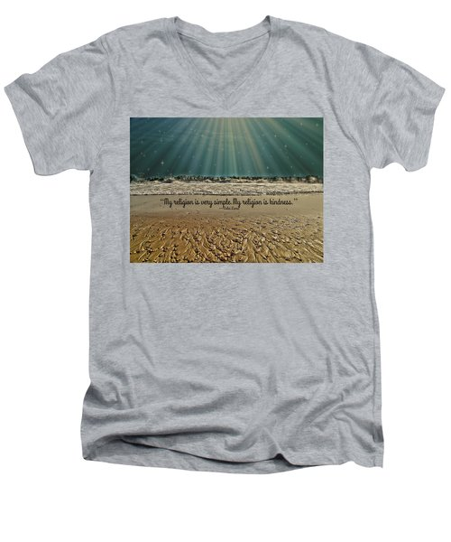 Men's V-Neck T-Shirt featuring the mixed media My Religion by Trish Tritz