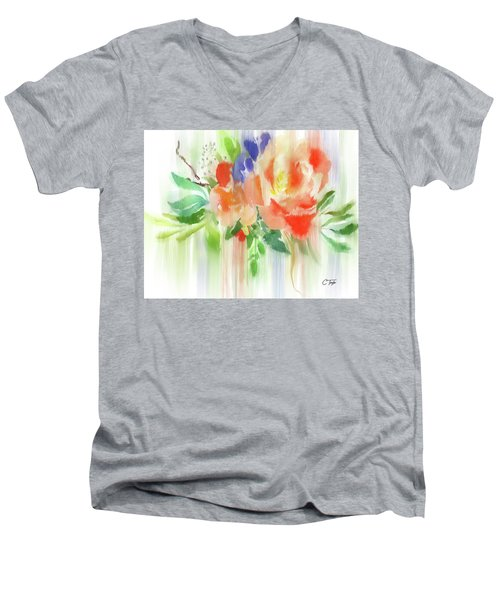 Men's V-Neck T-Shirt featuring the painting My Roses Gently Weep by Colleen Taylor