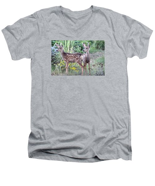 Men's V-Neck T-Shirt featuring the photograph Me And My Shadow  by Juls Adams