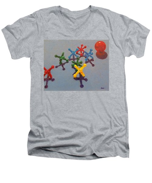 Men's V-Neck T-Shirt featuring the painting My Turn by Susan DeLain